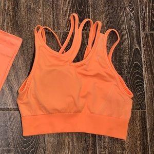 Gymshark Ultra Seamless Orange Bra Large